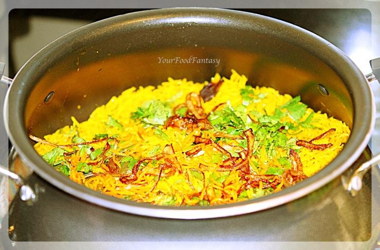 layering of chicken in chicken biryani prepration-recipe at yourfoodfantasy.com by meenu gupta