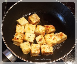 frying paneer for chilli paneer at yourfoodfantasy