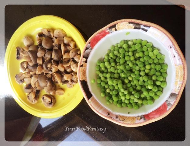Peas and Mushroom | Matar Mushroom Recipe | YourFoodFantasy.com