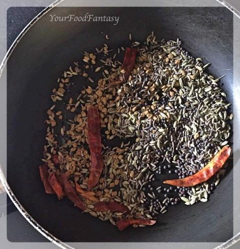 Roasting spices for achari gosht | YourFoodFantasy.com