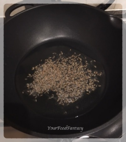 Frying-cumin-seeds-veg-pulao-recipe | Your Food Fantasy
