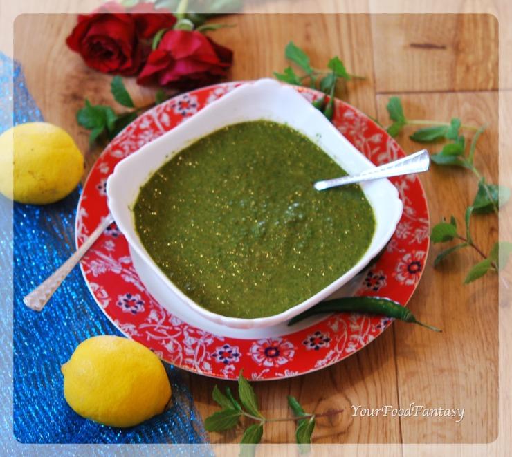 Coriander Mint Green Chutney Recipe | YourFoodFantasy.com by Meenu Gupta