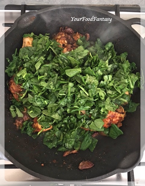 Adding Spinach | Spinach Chicken Curry Recipe | Your Food Fantasy