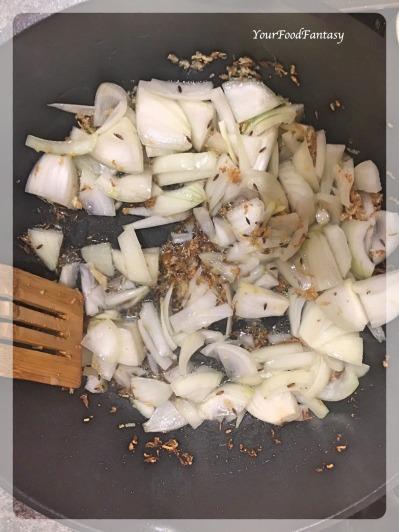 Frying Onion   Bhindi Do Pyaza   YourFoodFantasy.com
